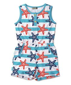Blue & Red Stripe Starfish Pocket Romper - Toddler & Girls