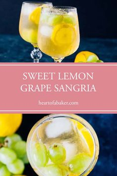 Are you looking for an easy cocktail recipe? Click through and find out how to make this Sweet Lemon Grape Sangria! Easy Alcoholic Drinks, Drinks Alcohol Recipes, Cold Drinks, Spring Cocktails, Easy Cocktails, Sangria Recipes, Cocktail Recipes, Sweet White Wine, Healty Dinner