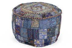 One Kings Lane - Exotic Furniture - Embroidered Pouf, Blue- boho