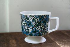 Vintage Mod Coffee Mug, Blue Green Pedestal Mug, Abstract Kaleidoscope Cup, Ceramic Mug