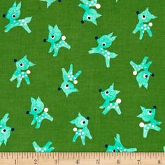 Cotton + Steel Garland Little Deer Green from @fabricdotcom  Designed by Melody Miller for Cotton + Steel, this cotton print fabric is perfect for quilting, apparel and home decor accents. Colors include aqua, green, royal, black and white.
