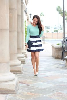 Spring Outfit: Mint and Navy Stripes  Top: J.Crew  Skirt: Zappos -  Shoes: J.Crew  Bangle: J.Crew  Earrings: Kate Spade Necklace: Ann Taylor  Belt: Kate Spade