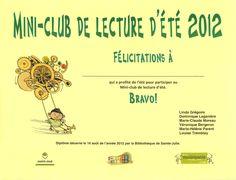 Pre-school program completion diploma - Bibliothèque de Sainte-Julie