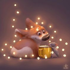 ArtStation - lights on for the rainy day , Lynn Chen Animal Sketches, Animal Drawings, Cute Drawings, Dog Illustration, Character Illustration, Cute Images, Cute Pictures, Cute Corgi, Pics Art