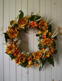 fall, autum grapevine Wreath, Yellow Cabbage Roses & Hydrangea with Orange Chinese Lanterns Silk Floral Wreath