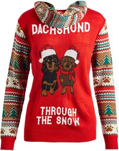 Fire Red 'Dachshund Through the Snow' Sweater & Fair Isle Scarf