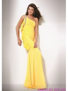 One Shouldered Prom Gown With Glittering Strap
