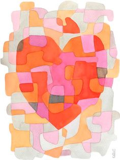 "Heart - Abstract Art Print Poster Mid Century Modern Wedding Gift Anniversary Gift pink orange, 8"" x 11"". $19.00, via Etsy."