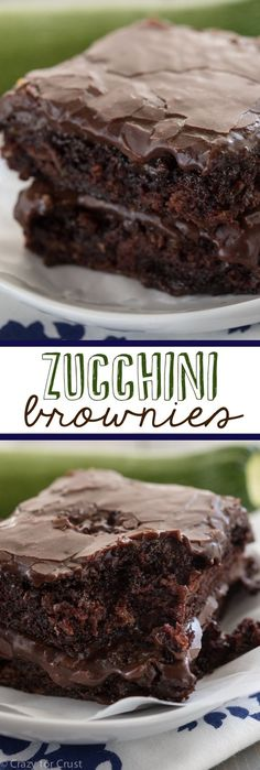 Zucchini Brownies - the easiest recipe for the most gooey chocolaty fudgy brownies full of zucchini! And NO ONE will guess!