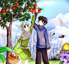 Koleksi Gambar Kartun Muslim Berpasangan - Foto Gambar Terbaru