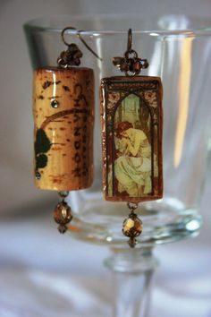 Mucha Wine Cork Earrings by RainySummerDesigns on Etsy, $89.00