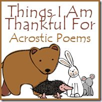 Things I Am Thankful For Acrostic Poems Free Printable to go with Bear Says Thanks - part of the Bear Snores On series Thanksgiving Writing, Thanksgiving Preschool, Thankful Poems, Alphabet Words, Classroom Inspiration, Classroom Ideas, Character Education, School Themes, Acrostic Poems