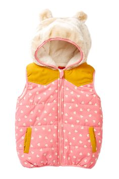 Funkyberry | Hooded Ear Puff Vest (Toddler, Little Girls, & Big Girls)