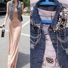 Fd3996 nuevo Cowboy mujeres lentejuelas rebordear Denim cintura longitud de abrigo Jean chaleco(China (Mainland))