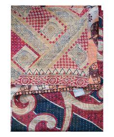 Beige & Red Paisley Handmade Kantha Throw #zulily #zulilyfinds