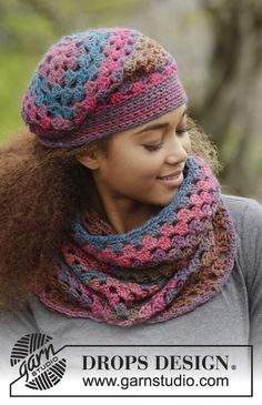 "In Treble / DROPS 172-7 - Set consists of: Crochet DROPS hat and neck warmer with treble groups in ""Big Delight"". - Free pattern by DROPS Design"