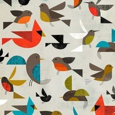 Combo of birds and mid-century design - what a great wallpaper or fabric pattern