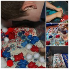 Red white and blue sensory tub from Little Bins for Little Hands