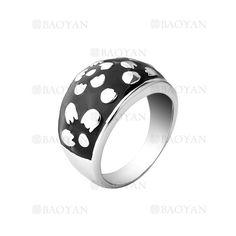 anillo color negro con flor de acero plateado inoxidable para mujer -SSRGG161950