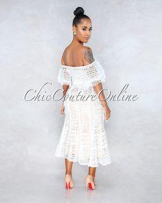 463ac57244e6c Chic Couture Online - Romance White Nude Illusion Crochet Midi Dress