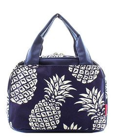 Embroidered Navy with White Pineapple Lunch Bag-Personalized Lunch Bag-Monogrammed  Lunch Bag-Embroidered Lunch Bag-Insulated Lunch Bag a483de903763e