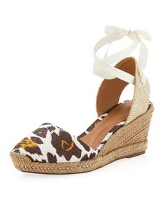 Linho Animal-Print Linen Wedge by Schutz at Last Call by Neiman Marcus.