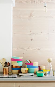 An easy way to add colour to your kitchen with Oliver Bonas Bamboo Bowls and Accessories
