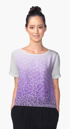 """Ombre purple and white swirls zentangle"" Chiffon Top by @savousepate on @redbubble #chiffontop #tshirt #teeshirt #fashion #clothing #apparel #pattern #drawing #doodles #zentangle #abstract #ombre #gradient #purple #mauve #lilac #lavender #amethyst #white"