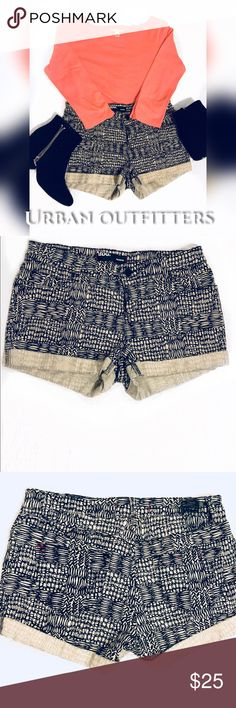 """Urban Outfitters BDG Mid-Rise Shorts Mid-Rise Tribal Print Jean Material Gorgeous red thread detail on pockets  Cut off """"BDG"""" stamp as shown in Picture 3 98% Cotton 