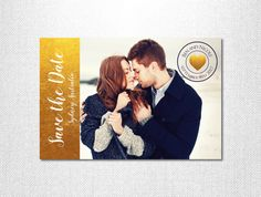 Gold Save the Date ~ Wedding Announcement Card ~ Gold Foil Invitation ~ Photo Invitations ~ Wedding Invitations Australia ~ Invitation Card by LoveStoryInvitations on Etsy https://www.etsy.com/au/listing/250627841/gold-save-the-date-wedding-announcement