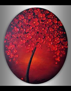 ORIGINAL Fine Art, 24x20 Oval Canvas Contemporary, Red Cherry Blossom Tree, Acrylic Painting, Home decor, Landscape, Ready to hang Artwork by ZarasShop