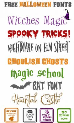 These Halloween fonts are great for making party place-cards, gift tags, decorative signs, banners, you name it! Free Fonts for Halloween Free Fonts For HalloweenFree Dingbats For Fa. Fancy Fonts, Cool Fonts, Type Fonts, Gratis Fonts, Helloween Party, Halloween Fonts, Halloween Halloween, Halloween Poster, Halloween Cards