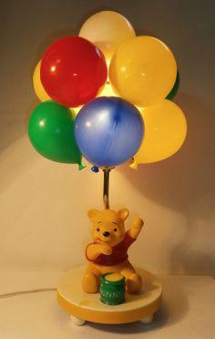 Winnie The Pooh Balloons Vintage Baby Night Light Lamp Honey Pot Pooh Bear