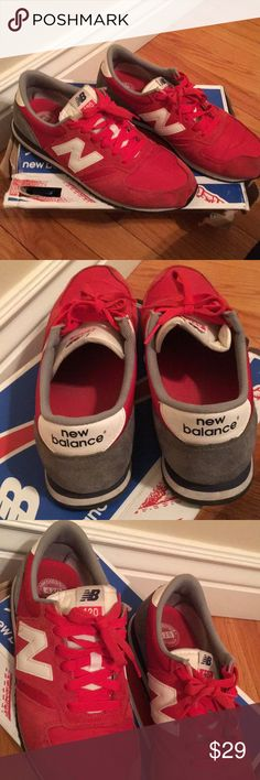 Sale! 🎉New Balance 420 Women's Sneakers 👟 ❣️New Balance 420  Classic Women's Red & Grey Sneakers👟 Gently Worn see pic for light wear on front and sides Lots of love left (see pics)  Comfy, cute and quality sneaker pairs will with leggings, jeans, shorts, and much more!  💕Ships fast Box included New Balance Shoes Sneakers