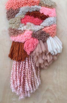 New shaggy weaving - peach & tan - soon at my Etsy shop!
