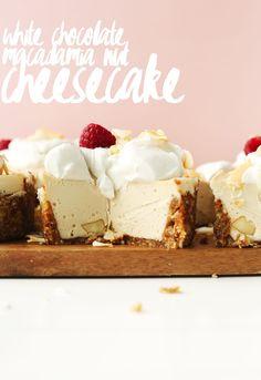 AMAZING White Chocolate Macadamia Nut CHEESECAKE! 10 ingredients and SO rich! #vegan #glutenfree #cheesecake #easy
