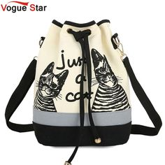 bucket bag Picture - More Detailed Picture about 2017 New Fashion Retro Women Canvas Bucket Bags Cute Print Shoulder Bag new Casual Drawstring crossbody bag women messenger bags Picture in Men's Costumes from Michael Traveling Goods Co. Cat Backpack, Drawstring Backpack, Bucket Handbags, Bucket Bags, Cat Gym, Printed Bags, Casual Bags, Fashion Handbags, New Fashion