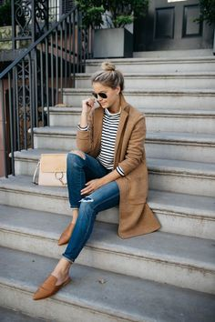 Camel Sweater Coat + Striped Turtleneck + Jeans + Camel Mules - Styled Snapshots - Women's Fashion - Fall Fashion fall inspiration - fall outfit Mode Outfits, Casual Outfits, Fashion Outfits, Style Fashion, Camel Coat Outfit, Look Blazer, Mode Chic, Fall Fashion Trends, Fashion Ideas