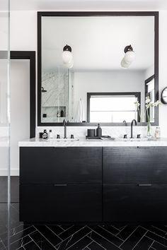 San Francisco Apartment | Interior Design - Bathroom - Double Vanity #NICOLEHOLLIS Photo by Laure Joliet