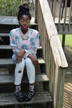 blackfashion:  Unicorn shirt: forever 21, sheer collar shirt: thrifted, jeans: q fashion, socks: local beauty supply store, jellys: ebay, gl...
