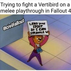 Trying to fight a Vertibird on a melee playthrough in Fallout f - iFunny :) Fallout Comics, Fallout Funny, Fallout Fan Art, Fallout 4 Tips, Video Game Memes, Fallout New Vegas, Geek Humor, Happy Fun, Gaming Memes
