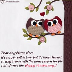Anniversary Wishes For Husband, Happy Wedding Anniversary Wishes, Anniversary Funny, Birthday Cake Writing, Special Images, Cute Owl, Paper Crafts, Cakes, Couples
