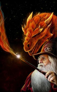 Wizard & Dragon ~ by ravenmorgoth on deviantART || Instead with a hand outstretched with a fireball in hand