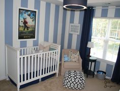 A special little boy nursery {blue and white}, golf theme nursery, blue and white striped walls