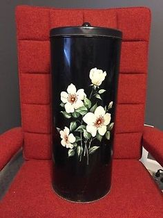 Vintage Decoware Black Clothes Hamper/Hat Holder with Cream Flowers Canvas Laundry Hamper, Large Laundry Basket, Large Baskets, Storage Bags For Clothes, Clothes Basket, Washing Bins, Stackable Shoe Rack, Seagrass Storage Baskets, Hat Holder