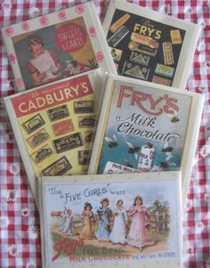 Nostalgic chocolate, sweets and cakes, set of 5,  card collection by LoveBettyLoveBetty on Etsy