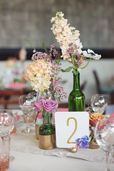 #table-numbers, #posies  Photography: Andria Lo - andrialoweddings.com/  Read More: http://www.stylemepretty.com/california-weddings/2014/03/28/colorful-smog-shoppe-wedding/