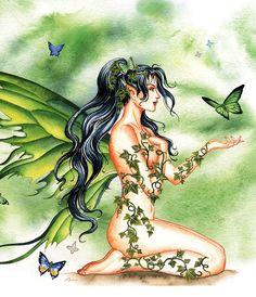 Nene Thomas Ceramic Tile Art -- Ivy Vines Fairy