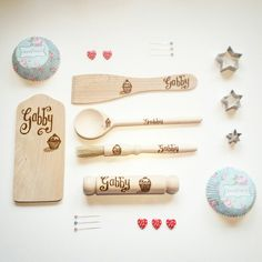 Child's wooden baking set, personalised with name and cupcake - lets get baking with mummy!
