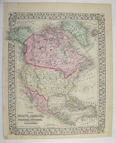 Antique North America Map Vintage United States Map Canada Mexico Old 1871 Mitchell Unique Gift Under 100 Gift For Home Office Wedding
